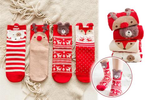 Praznične čarape WinterJoy, motiv životinje, 4 para, pojedinačne