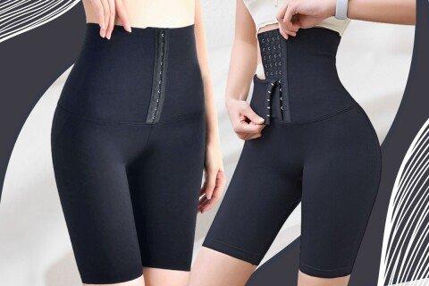 Ženske kratke helanke Shorties, funkcija steznika, crne boje