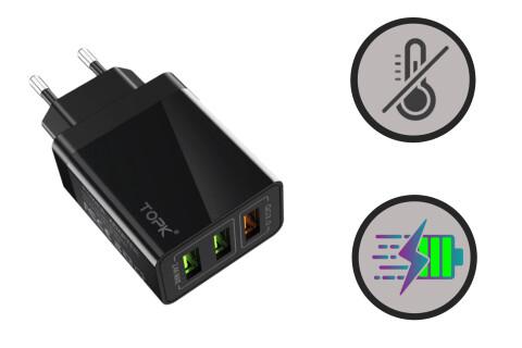 Potovalni polnilec QuickCharge USB QC3.0 30W, ognjevarni material, 3 USB vhodi, hitro polnjenje