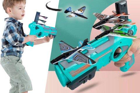 Igračka za lansiranje aviona od pjene FlyTwist, na oprugu
